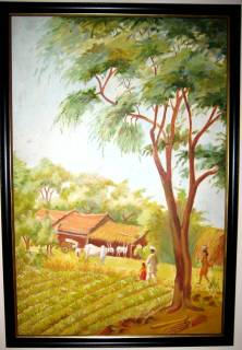 village_india_scene_paintings_nature_hut_street_agriculture_farmers_